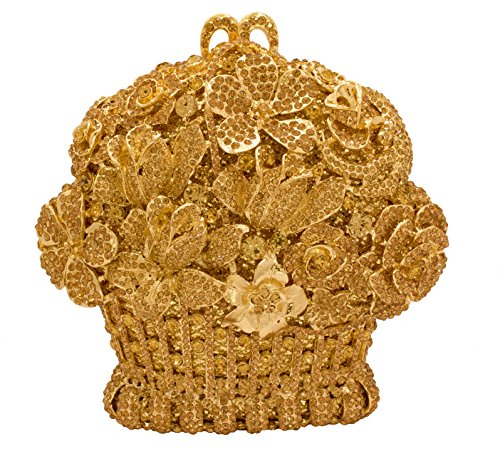 Floral Shaped Wedding Bouquet Crystal Bridal Clutch Rhinestone Evening Bag in Sparkling Gold
