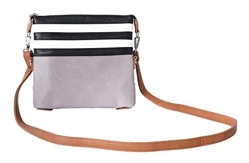 Abbey: 3-in-1 Crossbody Clutch – Convertible Leather Handbags for Women – Affordable, Versatile Tote Bags (Striped)