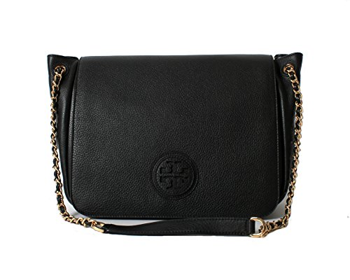 Tory Burch Marion Pobbled Leather Flap Shoulder Bag in Black
