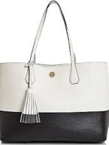 TORY BURCH Color Block Perry Pebbled Leather Large Tote