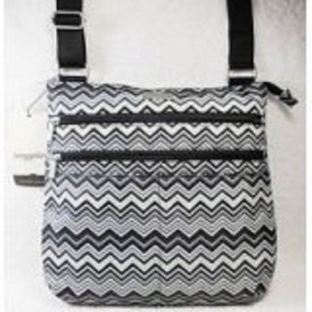 Baggallini Large Zip N Go Crossbody Bag Black Gray Chevron