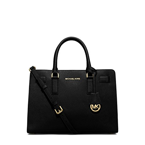 MICHAEL Michael Kors Dillon East West Saffiano Leather Satchel Handbag in Black Gold
