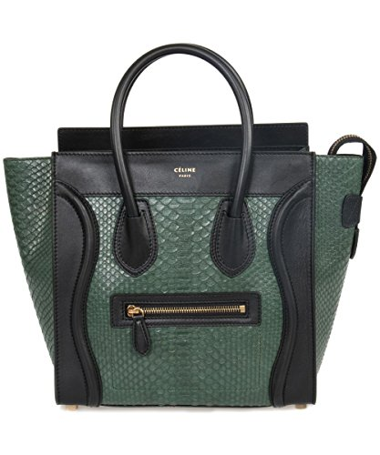 Celine Women's Micro Black Leather Handbag, Emerald Green Python