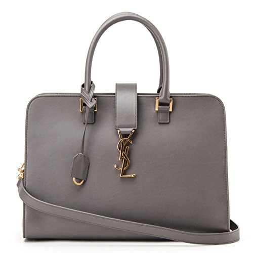 Saint Laurent Classic YSL Cabas Monogram Satchel Shoulder Bag 357395 in Grey Leather