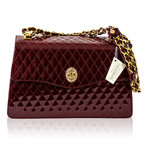 Valentino Orlandi Italian Designer Burgundy Quilted Leather Chain Purse Bag