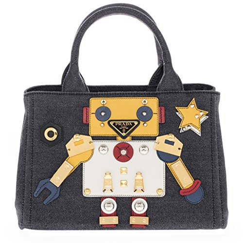Prada Women's Denim Robot Satchel Bag Multicolor