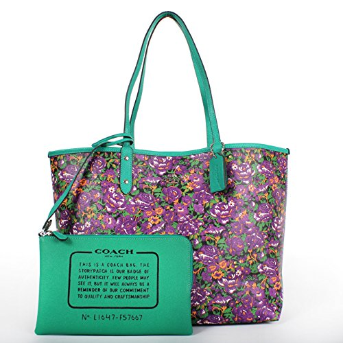 Coach F57667 Reversible City Tote In Rose Meadow Print Violet Multi Black
