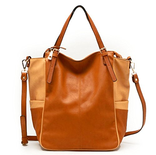 Tosca USA, 3-Compartment, 2-Color Drapey Tote w/ Strap – Camel/Tan