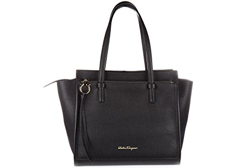 Salvatore Ferragamo women's leather shoulder bag original tote black