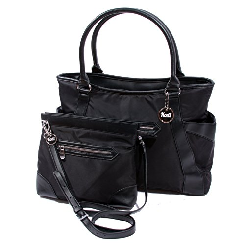 Large Tote with Attaching Handbag for Travel Work and Moms in Black