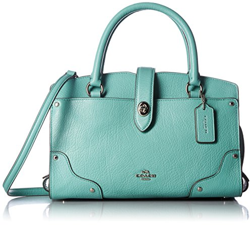 COACH Grain Leather Mercer 24 Satchel SV/Aqua Satchel Handbags