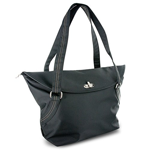 Travelon Large Tote With Flap and Turn Lock Closure (Black)