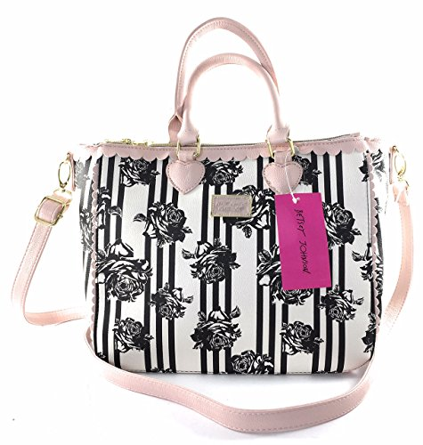 Betsey Johnson Double Handle Striped Floral Scallop Tote Crossbody Handbag Purse