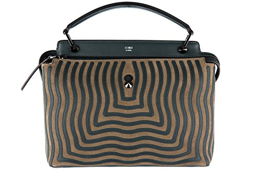 Fendi women's leather handbag shopping bag purse dot com camoscio hypnotic green