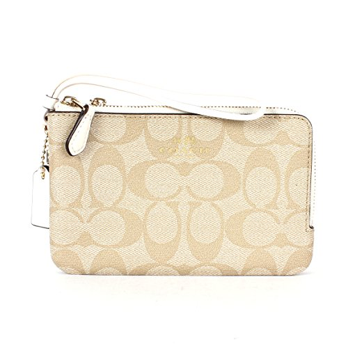 Coach Signature PVC Double Corner Zip Wristlet F66506 Light Khaki/Chalk
