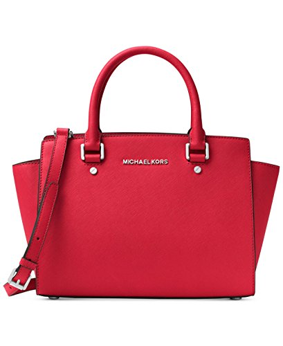 MICHAEL Michael Kors Selma Medium Tz Satchel Bright Red Satchel Handbags