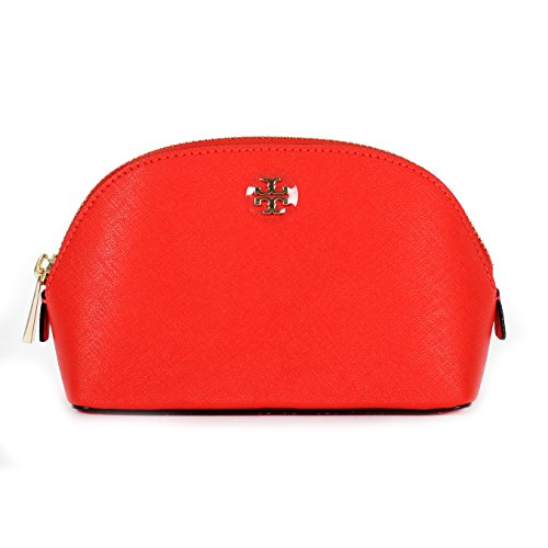 Tory Burch Saffiano Leather Cosmetic Case Poppy Red