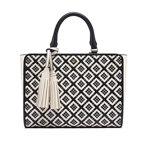 Tory Burch Women's Robinson Woven Quilted Small Zip Satchel, Black/New Ivory, One Size