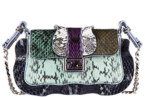 Fendi women's leather shoulder bag original micro baguette elaphe multi waves bl