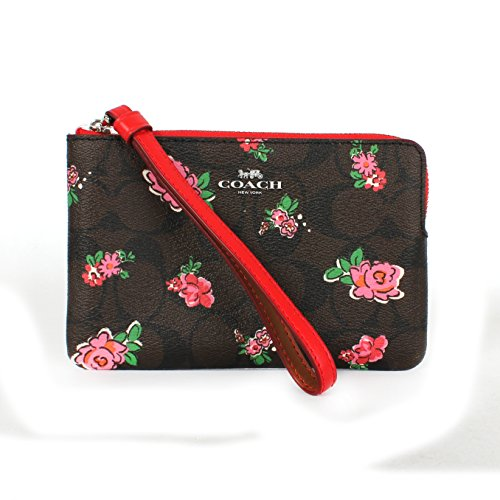 Coach Print Foral Logo Corner Zip Wristlet F57588 Brown Red Multi