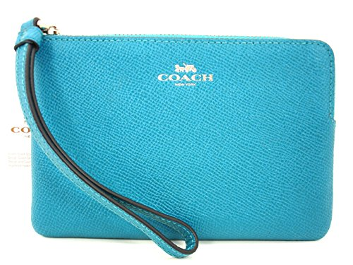 Coach Crossgrain Leather Corner Zip Wristlet Silver/Turqoise