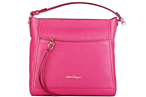 Salvatore Ferragamo women's leather shoulder bag original tote ally fucsia