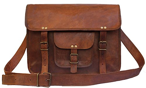 Leather Unisex Vintage 100% Genuine Real Leather Messenger Bag for Laptop Briefcase Satche