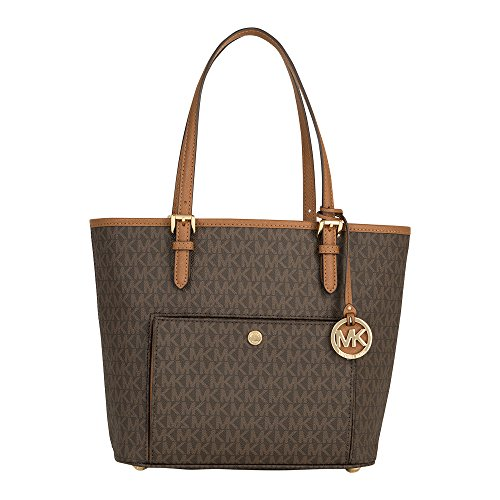 Michael Kors Mk Jet Set Signature Shoulder Bag, Brown , Medium