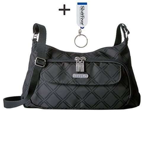 Baggallini Handbag Crinkle Shoulder Purse w Key Chain (Charcoal Link)