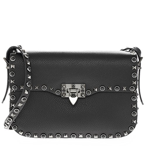 Valentino Women's 'Rockstud Rolling Nior' Grained Crossbody Bag Black
