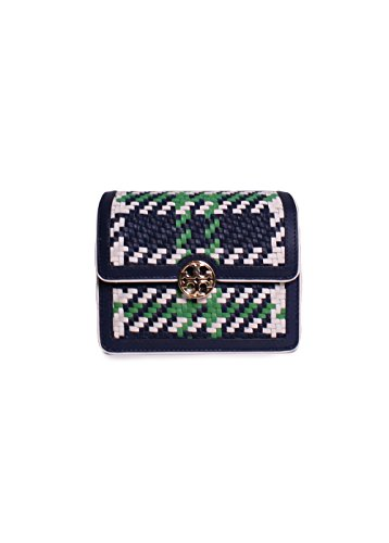 Tory Burch Duet Chain Woven Micro Crossbody in Royal Navy Court Green