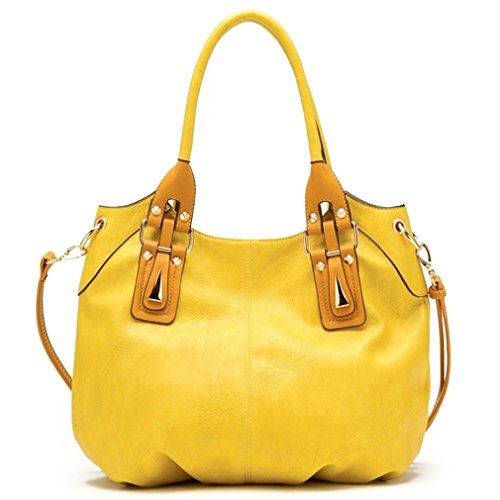 Tosca USA, 2-Color, 2-Handle Shoulder Bag w/ Strap- Yellow
