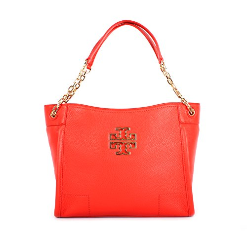 TORY BURCH BRITTEN SMALL SLOUCHY TOTE POPPY RED