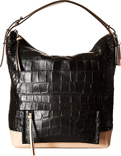 COACH Women's Bleecker Pinnacle Matte Croco Hobo Black Handbag