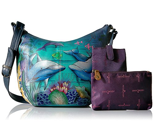 Anuschka Dolphin World, Hand-Painted Leather Medium Hobo