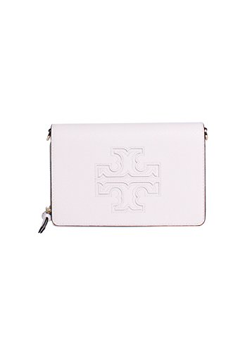 Tory Burch Harper Pebbled Leather Flat Wallet Crossbody Handbag in New Ivory