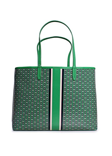 Tory Burch Gemini Link Canvas Tote Handbag in Green Gemini Link Stripe