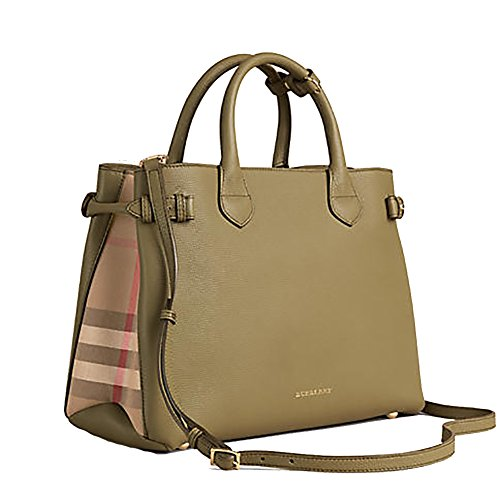 Tote Bag Handbag Burberry Medium Banner in Leather and House Check PALE PISTACHIO GREEN Item 39970611