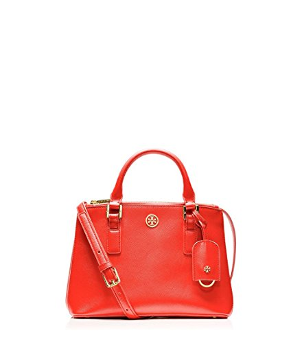 Tory Burch Crossbody Robinson Micro Double Zip Tote Poppy Coral