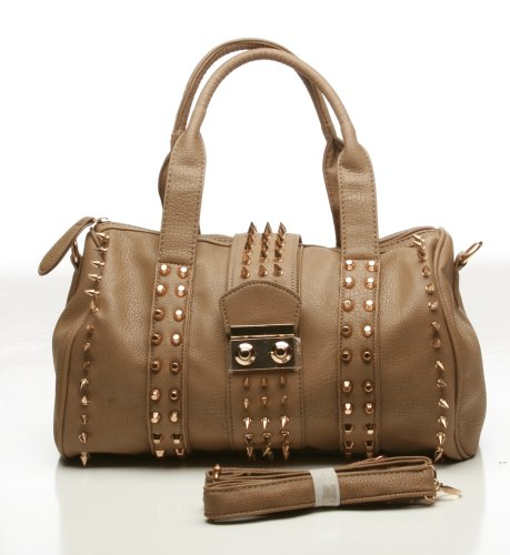 Designer Inspired Spiked Diva Duffel Bag More Colors Available (Beige)