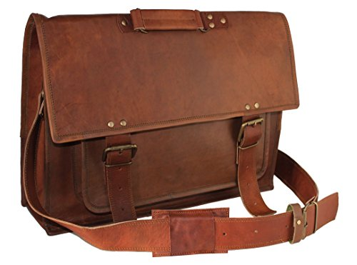 Handolederco. 18 Inch Retro Leather Briefcase Laptop Messenger Bag