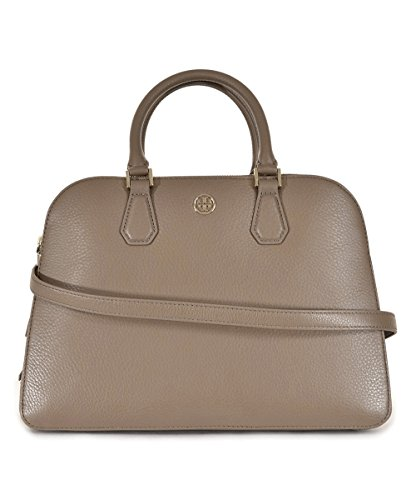 Tory Burch 34008 036 Landon Triple-Zip Pebbled Leather French Gray Satchel Handbag