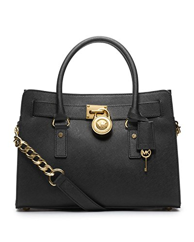 MICHAEL Michael Kors Hamilton East West Satchel Handbag in Glazed Saffino Black Leather