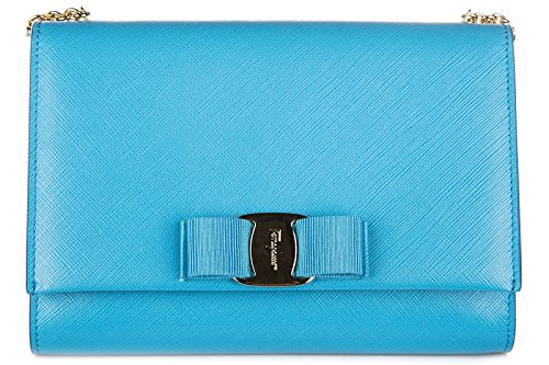 Salvatore Ferragamo women's leather cross-body messenger shoulder bag blu