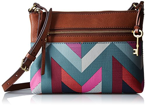 Fossil Fiona Small Crossbody, Chevron Blue