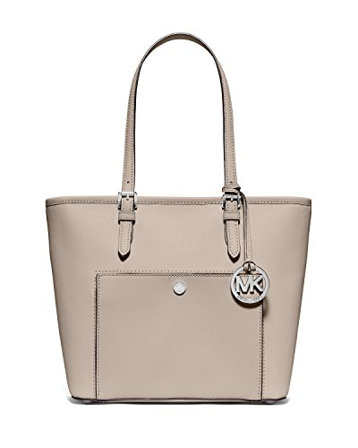 MICHAEL Michael Kors Jet Set Medium Snap-Pocket Leather Tote Bag, Cement