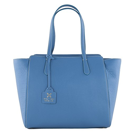 Shoulder bag Tosca blue, genuine leather, size in cm: 36 hx 16 wx 29 p