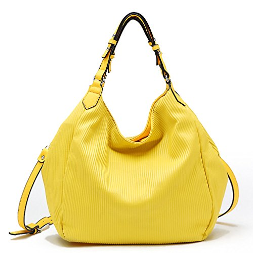 Tosca USA Elegant Pin-Stripe, 2-Handle Hobo w/ Crossbody Strap- Yellow