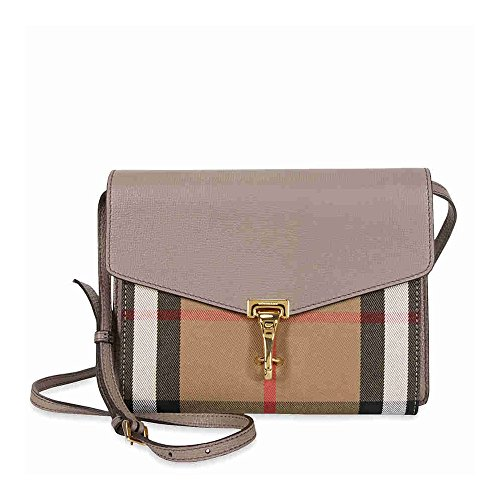 Burberry Small Leather and House Check Crossbody – Thistle Grey