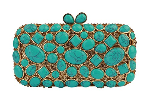 Yilongsheng Women's Shining Scattering Rhinestone Cobblestone Party Handbags and Clutch Bags-Green
